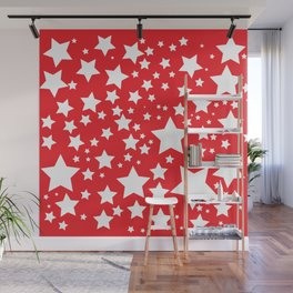 Red with white stars Wall Mural