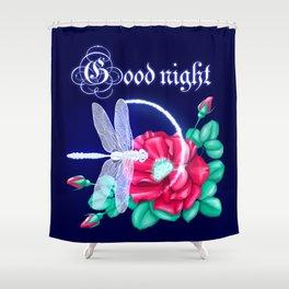 Full bloom | Dragonfly loves roses Shower Curtain