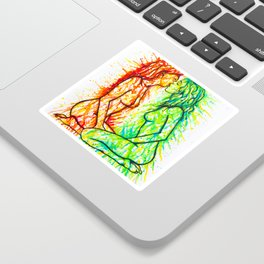 Sexual Energy - Erotic Art Illustration Nude Sex Sexual Love Lovers Relationship Lesbian Couple LGBT Sticker