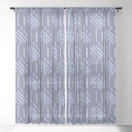 Imperfect Geometric Stripes Pattern - Pastel Blue Sheer Curtain