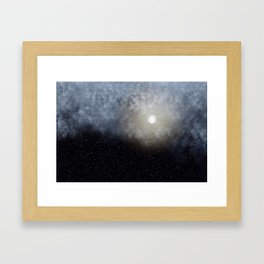 Glowing Moon in the night sky Framed Art Print