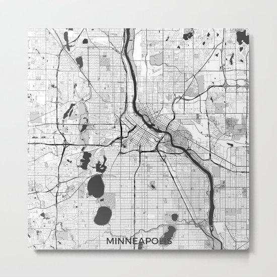 Minneapolis Map Gray Metal Print