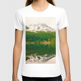 Reflective Mountain Lake With Trees Forest T-shirt