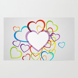Valentines Day colorful hearts Rug
