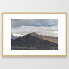 Kamloops mountain on a cloudy day Framed Art Print
