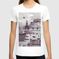 travel poster T-shirts featuring Edinburgh Travel Poster Illustration by ClaireIllustrations