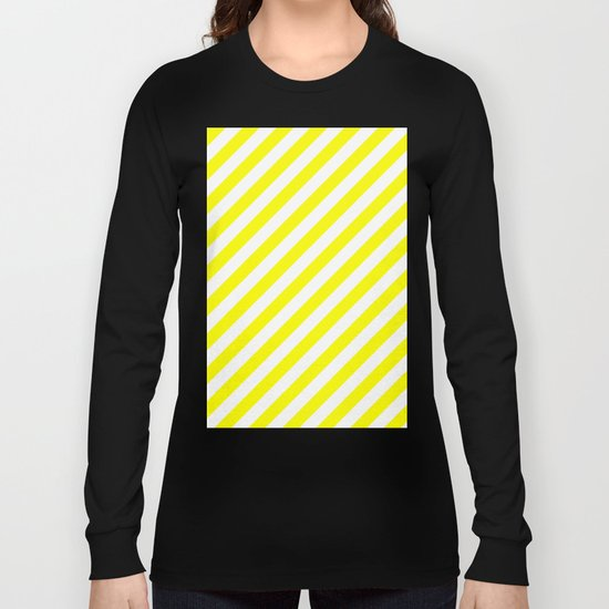 Diagonal Stripes (Yellow/White) Long Sleeve T-shirt