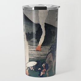 Hiroshige Travellers lighting their pipes by a fire Travel Mug