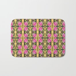 Pink roses with golden stripes pattern Bath Mat