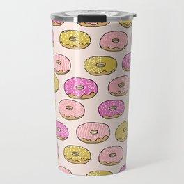Donuts pattern pink doughnut cute food print by andrea lauren Travel Mug