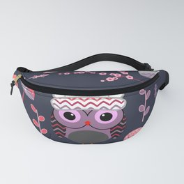 Baby owl, lizards and butterflies Fanny Pack
