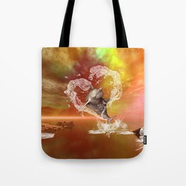 Dolphin jumping by a heart made of water Tote Bag