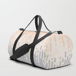 Marble and Geometric Diamond Drips, in Grey and Peach Duffle Bag