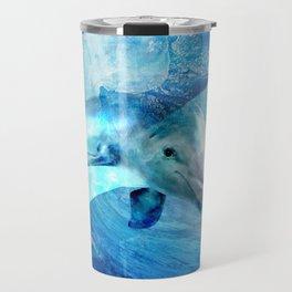 Watercolor Dolphin  Digital Art Travel Mug