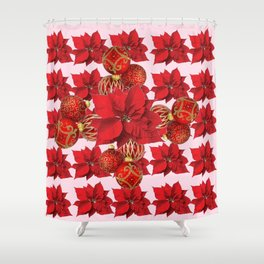 RED POINSETTIA FLOWERS  ORNAMENTS CHRISTMAS ART Shower Curtain