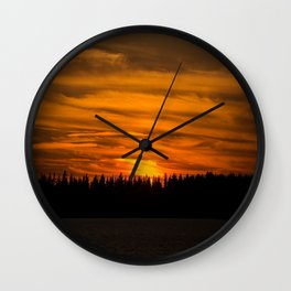 Cloudy Sunset With Forest Line - Scenic Landscape - #society6 #decor #buyart Wall Clock