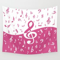 music notes Wall Tapestries featuring Cranberry Pink Music Notes with Wave by GBC Design