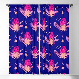 Modern navy blue pink abstract monster leaves illustration Blackout Curtain