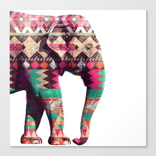 Whimsical Aztec Elephant Pink Turquoise Geometric Canvas Print