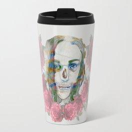 girl and flowers color Travel Mug
