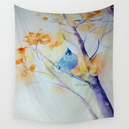 Nuthatch Aspen Morning Looking Up watercolour by CheyAnne Sexton Wall Tapestry
