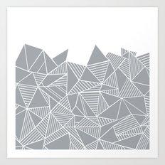 Abstract Mountain Grey on White Art Print