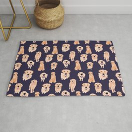 Golden Retrievers on Navy Rug