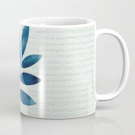 Blue Leaf on White Coffee Mug
