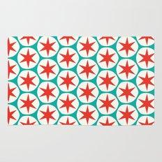 Retro Red Stars Pattern Rug