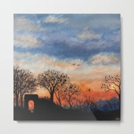 Winter Silhouette Sunset Metal Print