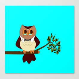 A Wise Ole Owl on a Branch Canvas Print