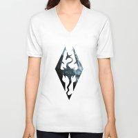 skyrim V-neck T-shirts featuring Skyrim Dragon by Victor Velocity