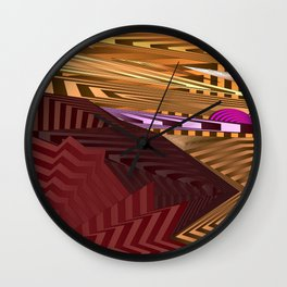 Striped landscap with stylised mountains, sea and violet Sun. Wall Clock