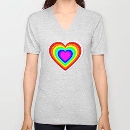 Lbgt rainbow heart Unisex V-Neck