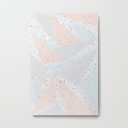 Soft terrazzo pastel with abstract geometric triangles Metal Print