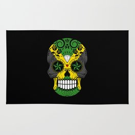 Sugar Skull with Roses and Flag of Jamaica Rug