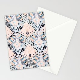 watercolor IKAT collage, mixed media, pastel pattern, pink, indigo, grey, black, sky blue Stationery Cards