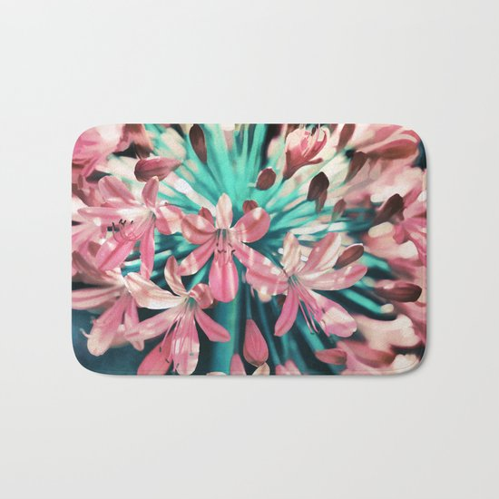 Sunny Agapanthus Flower in Pink & Teal Bath Mat