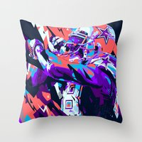 nfl Throw Pillows featuring DEZ BRYANT // NFL GRIDIRON ILLUSTRATION by mergedvisible