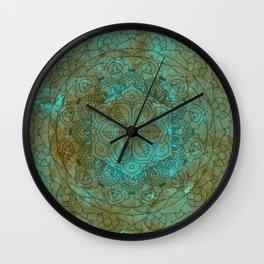 Cyan Brown Rusty Mandala Wall Clock