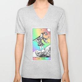 0. The Fool- Pastel Rainbow Tarot Unisex V-Neck