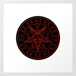 Wiccan symbols- Cross of Sulfur, Triple Goddess, Sigil of Baphomet and Lucifer Art Print