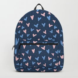 heart pattern, pink and blue hearts, i love you Backpack