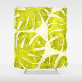 Lime Green Monstera Leaves Light Background #decor #society6 #buyart Shower Curtain