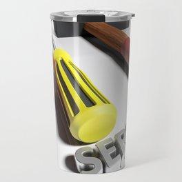 Hammer and screwdriver for Service - 3D rendering Travel Mug
