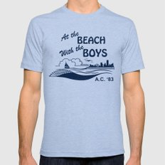 At the Beach with the Boys Mens Fitted Tee MEDIUM Tri-Blue