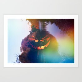 Jack-o'-lantern Film Double Exposure on 35 mm Film Art Print