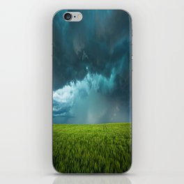 April Showers - Colorful Stormy Sky Over Lush Field in Kansas iPhone Skin
