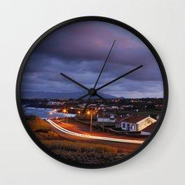 Village in twilight Wall Clock