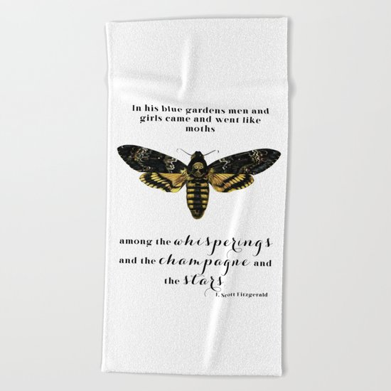 Among the whisperings and the champagne and the stars Beach Towel
